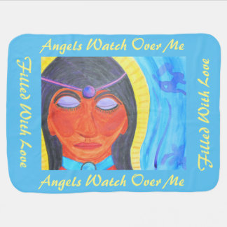 Abstract watercolor of Meditating Priestess/Angel Baby Blanket