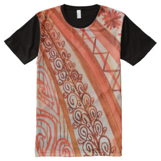 Abstract watercolor orange and brown cloth All-Over print t-shirt