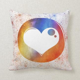 Abstract Watercolor Orange & Blue Heart Design Throw Pillow