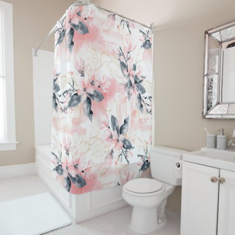 Abstract Watercolor Painted Pink Dogwood Flowers Shower Curtain