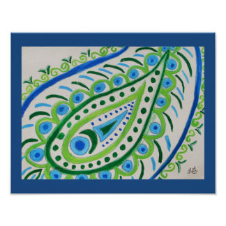 Abstract watercolor paisley poster
