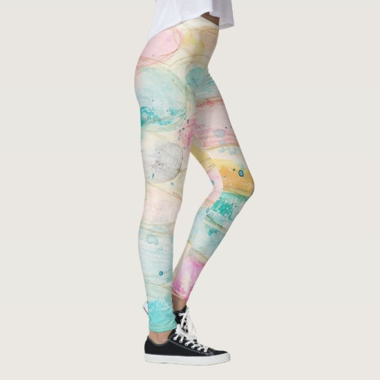 Abstract Watercolor Pastel Pink Aqua Modern Artsy Leggings
