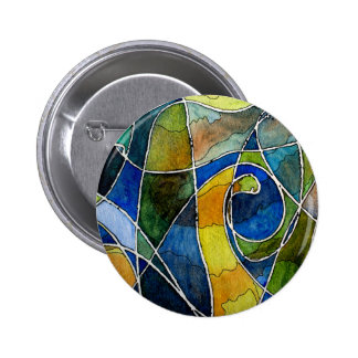 Abstract Watercolor Pen & Ink 2 Inch Round Button