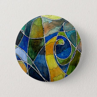 Abstract Watercolor Pen & Ink Button