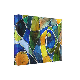 Abstract Watercolor Pen & Ink Canvas Print