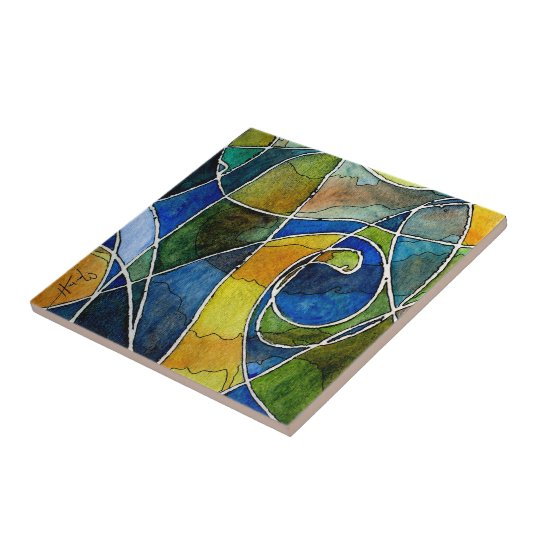 Abstract Watercolor Pen & Ink Ceramic Tile