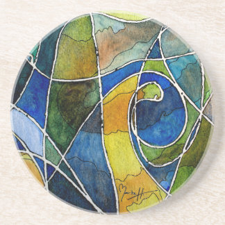 Abstract Watercolor Pen & Ink Drink Coaster