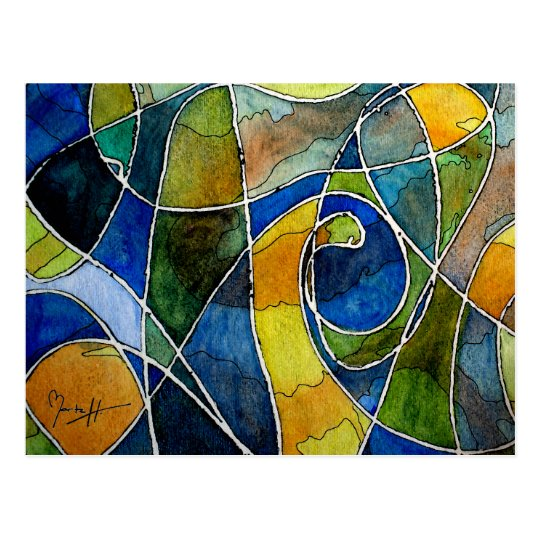 Abstract Watercolor Pen & Ink Postcard