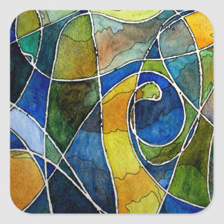 Abstract Watercolor Pen & Ink Square Sticker