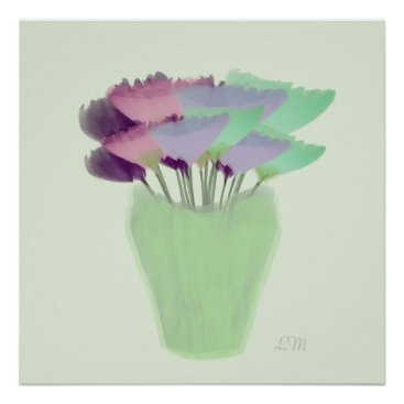 Art Themed Abstract Watercolor Peony Bouquet in Vase Print