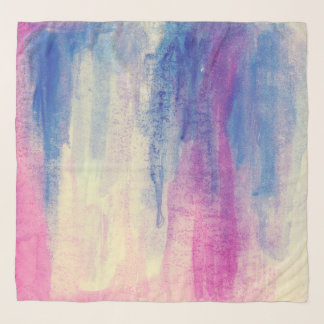 Abstract Watercolor Pink Blue White Scarf