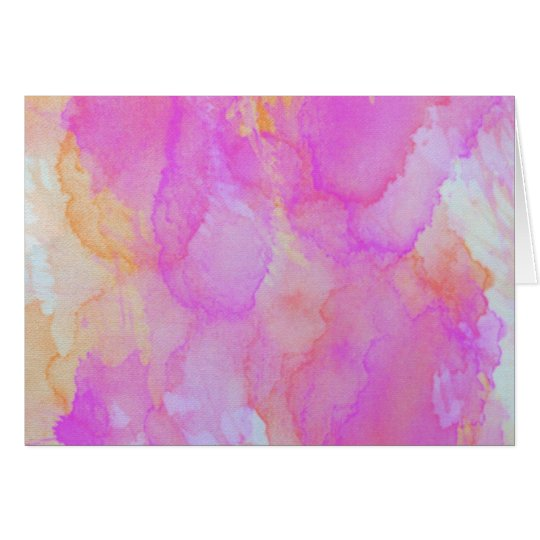 Abstract Watercolor Pink Orange Apricot Yellow Card