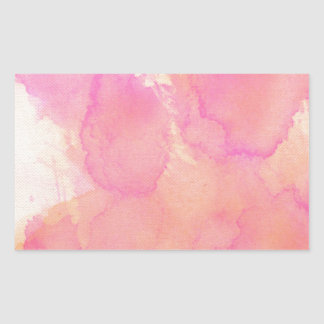 Abstract Watercolor Pink Orange Apricot Yellow Rectangular Sticker