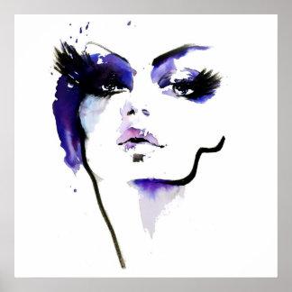 Abstract Watercolor purple woman makeup branding Poster