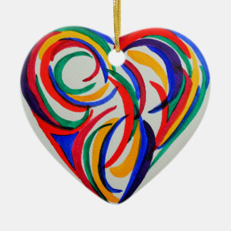 Abstract watercolor rainbow heart, 1st Christmas Ceramic Ornament