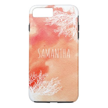 Beach Themed Abstract watercolor splash and coral reef trendy iPhone 7 plus case