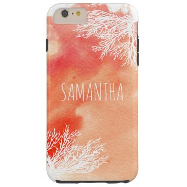 Beach Themed Abstract watercolor splash and coral reef trendy tough iPhone 6 plus case