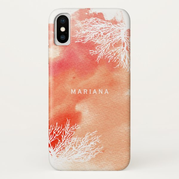 Abstract watercolor splash peach coral reef trendy iPhone x case