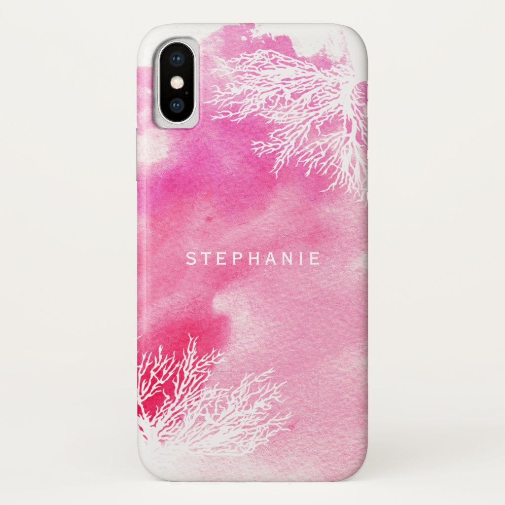 Abstract watercolor splash pink coral reef trendy
