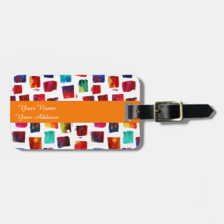 Abstract watercolor squares geometric pattern luggage tag