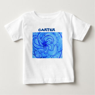 Abstract watercolor swirling mandala in blue baby T-Shirt