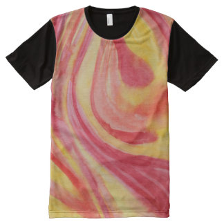 Abstract watercolor swirls of warm color All-Over print t-shirt