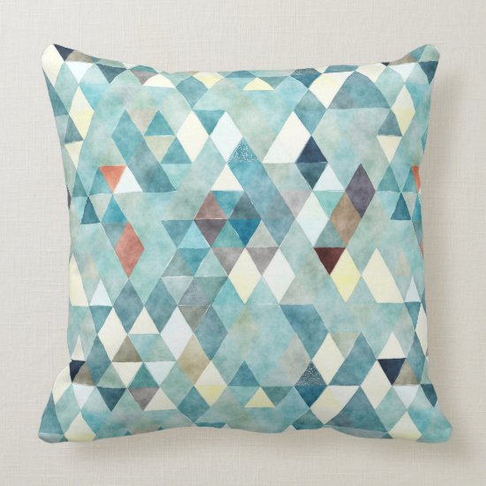 Abstract Watercolor Teal Triangle Pattern Throw Pillow