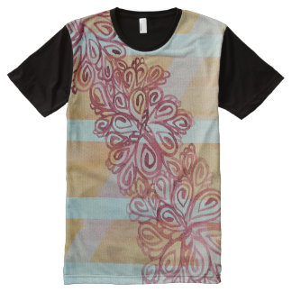 Abstract watercolor trellis and plant All-Over-Print T-Shirt