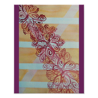 Abstract watercolor trellis and plant poster