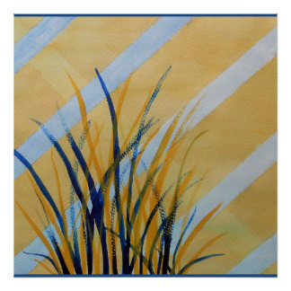 Abstract watercolor trellis with grasses poster