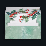 """Abstract Watercolor Wash and Holly Branches Envelope<br><div class=""""desc"""">Your invitations, greeting cards, or other correspondence will stand out with these beautiful watercolor wash envelopes in an abstract snow-like design. Colorful red berries and holly peek out from the inside of the envelope to compliment the design. A sample return address has been included on the back flap that you...</div>"""