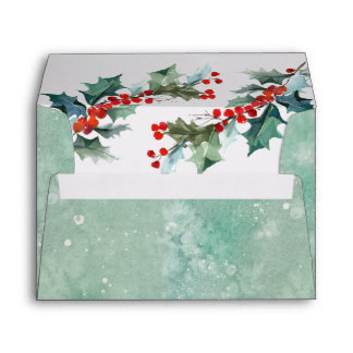Abstract Watercolor Wash and Holly Branches Envelope