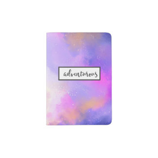 Abstract Watercolor with Surreal Space Clouds Passport Holder