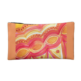 Abstract watercolor with warm ethnic feel cosmetic bag