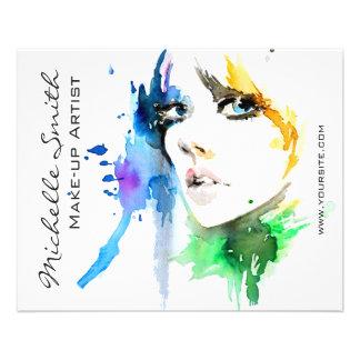 Abstract Watercolor woman makeup artist branding Flyer