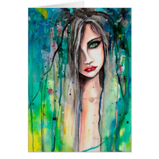 Abstract Watercolor Woman Portrait Fantasy Art Card
