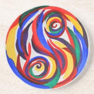 Abstract watercolor yin yang rainbow drink coasters
