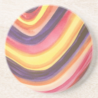 Abstract watercolor zig-zag stripes All-Over print Drink Coaster
