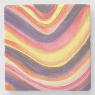 Abstract watercolor zig-zag stripes stone coaster