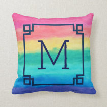 Abstract Watercolors In Pink Blue-Green & Yellow Throw Pillow