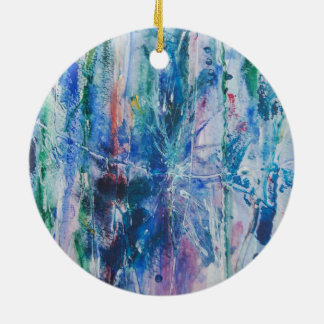 Abstract Waterfall Double-Sided Ceramic Round Christmas Ornament
