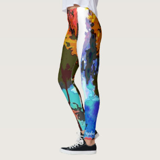 Abstract Waterfall with Personalized Name Leggings