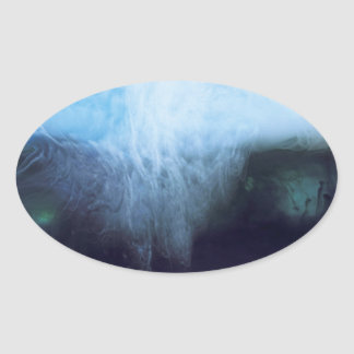 Abstract Waters Photograph Ink and Water Oval Sticker