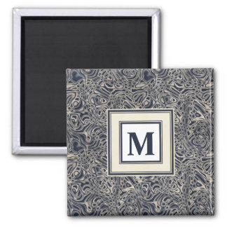 Abstract Watery Blue Waves and Swirls Pattern 2 Inch Square Magnet
