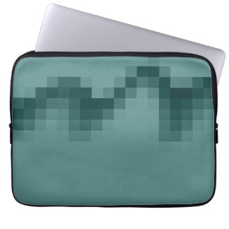 Abstract Wave of Squares Design in Green. Computer Sleeves