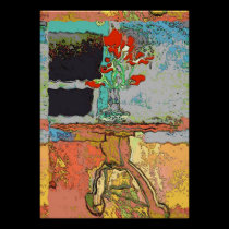 Abstract Wave Red Flowers Still Life posters