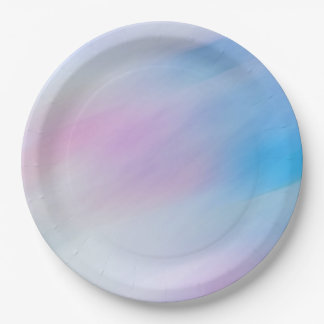 Abstract Wave Watercolor Multicolor Paper Plate