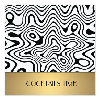 Abstract wave with metal cocktail invitations