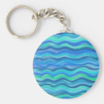 Abstract Waves Basic Round Button Keychain