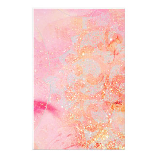 ABSTRACT WAVES ,GOLD ORANGE PINK SPARKLES,SWIRLS STATIONERY